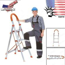 Non-slip 3 Step Aluminum Ladder Folding Platform Stool 330 lbs Load Capacity New