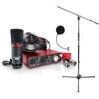 Focusrite Scarlett 2i2 USB Audio Interface Studio Pack 2G w/Mic Stand+Pop Filter