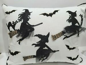 "Moonlight Manor Halloween Trio Witch Flying Broom Black Cat Pillow Decor 16""x20"""