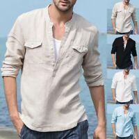 Men's Baggy Cotton Linen Pocket Solid Long Sleeve Retro Loose Shirts Tops Blouse