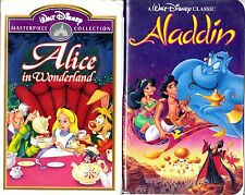 Alice in Wonderland (VHS, 1998) & Aladdin; 2 Disney VHS