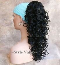 Jet BLACK Ponytail Hairpiece Long Curly Layered Claw Clip on Hair Extension #1