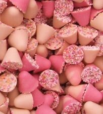 1KG WHITE AND PINK CHOCOLATE SPINNING TOPS - RETRO UK SWEETS WEDDING CANDY