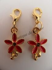 LOT DE 2 CHARMS BRELOQUE A FERMOIR METAL DORE FORME FLEUR ROUGE - BIJOUX AE4