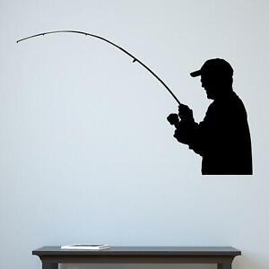 Fisherman Silhouette Wall Sticker Decal Transfer Fishing Home Dad Design Vinyl