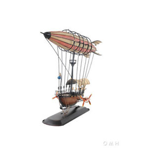 "Steampunk Airship 3D Model Blimp Metal Hot Air Balloon 14"" Zeppelin Aviation Art"