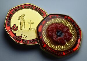 Armistice/Remembrance Commemorative with Embroidered Poppy & Red Enamel. WW1 WW2