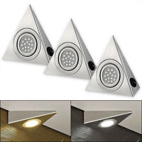 3x LED Triangle Kitchen Under Cabinet Cupboard Lights Brushed Stainless New