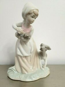 Girl Figurine With Mother Hound And Puppy