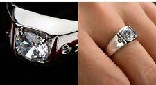Anillo De Hombre Oro Blanco 18K cristal color Plateado Idea Regalo Navidad