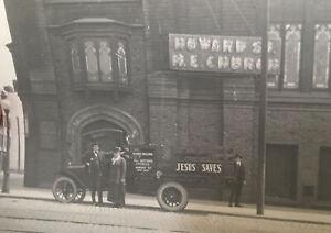 ca.1910's San Francisco HOWARD Methodist Ep. CHURCH Building & Jesus Saves TRUCK