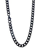 edle schwarze Edelstahl Panzerkette, 5 mm breit, 55 cm lang, Kette Halskette