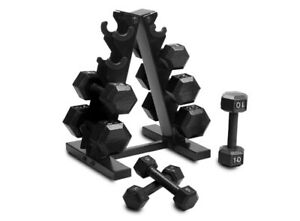Barbell 150 LB Black Dumbbell weights With Rack