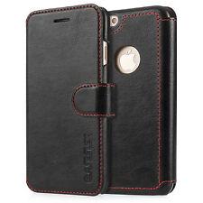 Caseflex iPhone 7 étui en cuir noir wallet candy rouge coutures