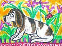 basset hound dog art print animals impressionism 11 x 14 ladybug irises garden