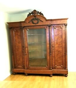 Antique Victorian Breakfront Mahogany China Cabinet Carved Hutch Armoire c.1880