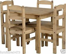 Solid Pine Natural Waxed Dining Table & 4 Chairs L90cm x D78.5cm x H75cm PAM
