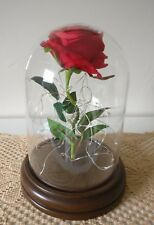 Valentine's Gift Red Silk Rose and Led Light in a Glass Dome on a Wooden Base