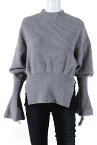 Alexander McQueen Womens Mock Neck Long Sleeve Sweater Gray Size Small