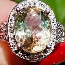 Rare Bi Green Pink Tourmaline Diamond Halo 14k white gold ring