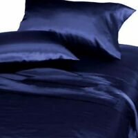 6-PC Navy Blue Soft Satin Silky Sheet Set Queen Size Flat Fitted Pillows 500TC