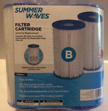 "SUMMER WAVES 2 Pack Type B Pool Filter Cartridge~10"" x 5.5"""