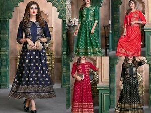 Women Indian Rayon Beautiful Designer Ethnic Anarkali Kurta Kurti Dress new