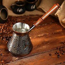 14 Oz Copper Turkish Coffee Pot Greek Arabic Cezve Ibrik Briki Wooden Handle