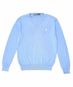 POLO RALPH LAUREN Mens V-Neck Jumper Sweater Small Blue Cotton GU10