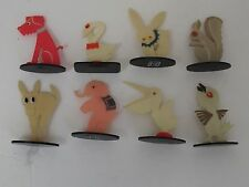 Vintage Cute Celluloid Animals and Birds Place Card Holders 8 pcs.