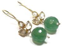 Beautiful Ladies Gold Vermeil Sterling Silver Jade & Quartz Earrings