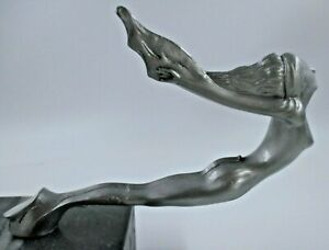 nude nymph swimming lady 1930  rare car hood ornament