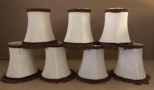 "7 Vintage style  Small  Tasselled Fringed Clip On Light Lamp Shades 5"" x 5"" Used"