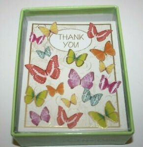 Design 20 Thank You Notes Postcards Cards & Envelopes Butterflies New NIB