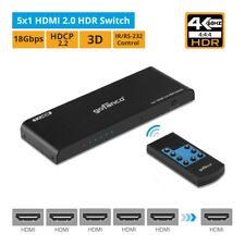 gofanco HDR HDMI 2.0 Switch (5-Port) with IR Remote – 4K @60Hz (HDRswitch5P)