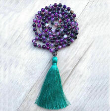 Purple Agate Yoga Meditation Japa Mala Knotted Tassl Jewelry 108 Bead Necklace