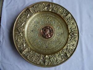 Antique French Heavy Bronze Brass Plate Cavalier Diameter 27 cm 1426 grams