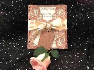 WEDDING INVITATION VINTAGE  ROSE GOLD GLITTER & IVORY SPARKLE CARD  LASER CUT