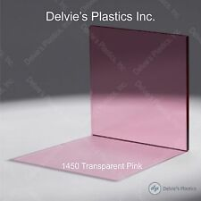 "5 Sheets 1/8""  1450 Transparent Pink Cell Cast Acrylic Plexiglass  12 x 12"