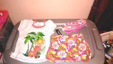NWT GIRLS CLOTHING LOT 3 PC SUMMER LOT SHIRT TOP SHORTS AND FLIP FLOPS SZ 7
