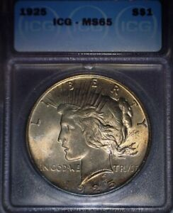 1925 Peace Silver Dollar, ICG MS65 ,Beautiful Orange/Gold Tone,Frosty Issue Free