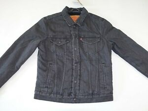 Levi's Men's Lined Trucker Jean Jacket Small NWT Black Snap Buttons Red Tab S LS