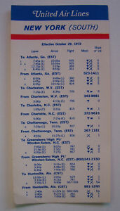 United Air Lines New York (South) Timetable Effective October 29, 1972
