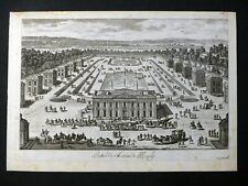 Gravure Fin 17e s. Pérelle Fils - Entrée Château Marly AVANT LA LETTRE Pavillons