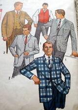 VTG 1950s MENS JACKET & VEST Sewing Pattern CHEST 40