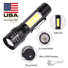 Mororock T6 COB LED 4 Modes USB Rechargeable Flashlight Torch Zoom Lamp