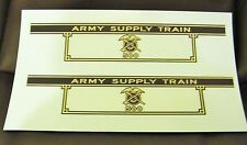 BLACK & GOLD WATERSLIDE DECALS: MARX 500 ARMY SUPPLY TENDER 2 PER SET NICE LOOK!