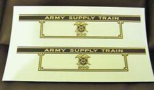 BLACK & GOLD WATERSLIDE DECALS: MARX 500 ARMY SUPPLY TENDER 2 PER SET NICE LOOK!
