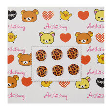 Brown Leopard Pattern Home Button Stickers 6 in 1 for iPhone 4 4G 4S 4GS 5  L2V5