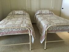 2 Wrought Iron cream powder coated S hospital beds, testers, bedding, mattress